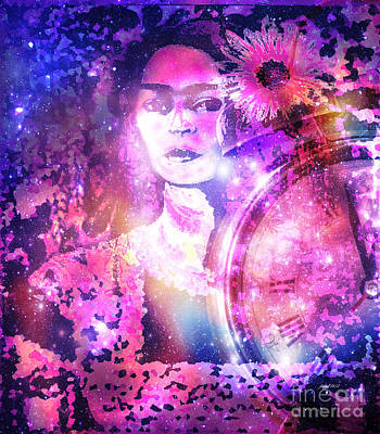 Central America Mixed Media - Frida In Pink by Fania Simon