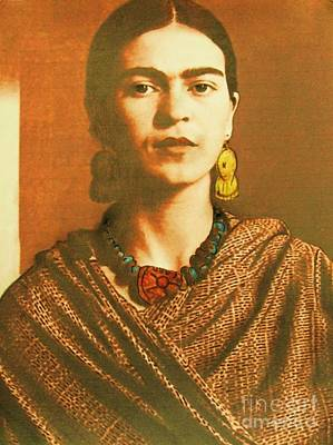 Avant Garde Mixed Media - Frida In Sepia Two by Roberto Prusso