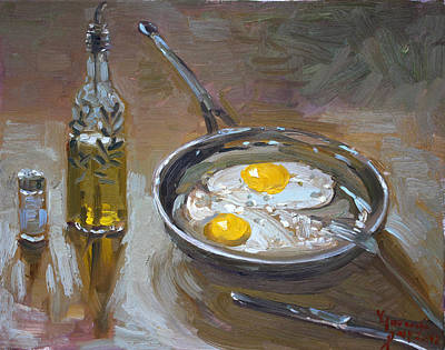 Bottle Painting - Fried Eggs by Ylli Haruni