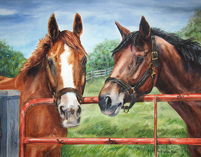 Dressage Art Painting - Friends At The Gate by Kristine Plum