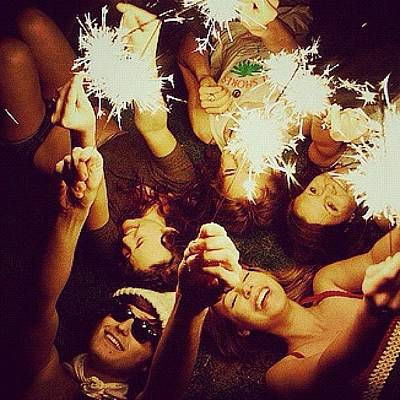 #friends #girls #boys #light #fireworks Art Print
