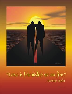 Asphalt Digital Art - Friendship Poster by Walter Oliver Neal