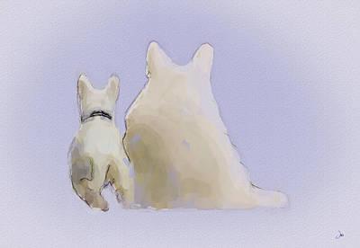 Puppy Digital Art - Friendship by Ron Jones