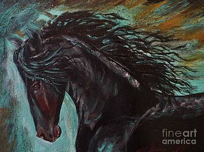 Painting - Friesian Frolic Series 3 by Leslie Allen