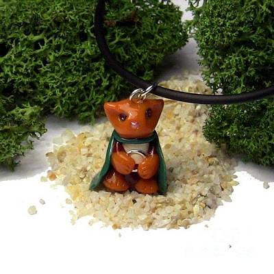 Polymer Clay Jewelry - Frodo Kitty Hugging The One Ring Lord Of The Rings Parody Necklace by Pet Serrano