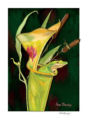 Art Print featuring the painting Frog In Green Pitcher Plant by Anne Beverley-Stamps