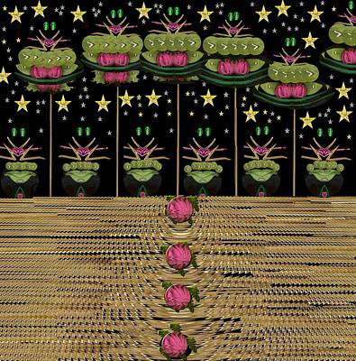 Frogs Mixed Media - Frogs Singing In The Dark Night by Pepita Selles