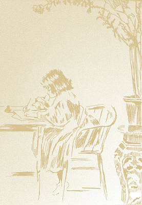 Sepia Ink Drawing - From The Desk Of by Robbi  Musser