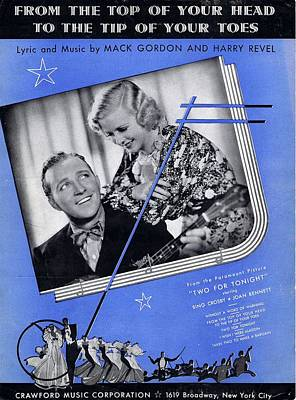 Old Sheet Music Photograph - From The Top Of Your Head To The Tip Of Your Toes by Mel Thompson