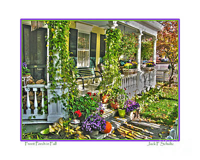 Front Porch In Fall Art Print by Jack Schultz