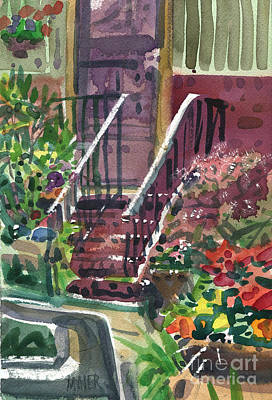 Watercolor Door Painting - Front Steps by Donald Maier