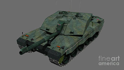Challenger Digital Art - Front View Of A British Challenger II by Rhys Taylor