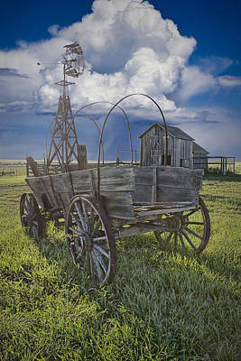 Wagon Train Photograph - Frontier Farm In 1880 Town by Randall Nyhof