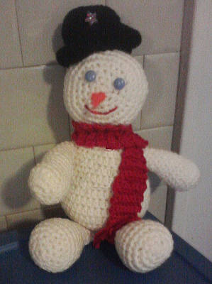 Amigurumi Tapestry - Textile - Frosty The Snowman by Sarah Biondo
