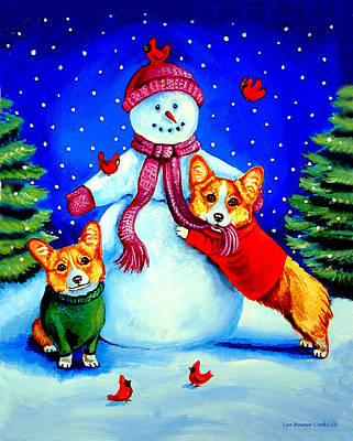 Frosty's Helpers Pembroke Welsh Corgis Print by Lyn Cook