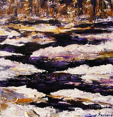 Art Print featuring the painting Frozen River by Karen  Ferrand Carroll