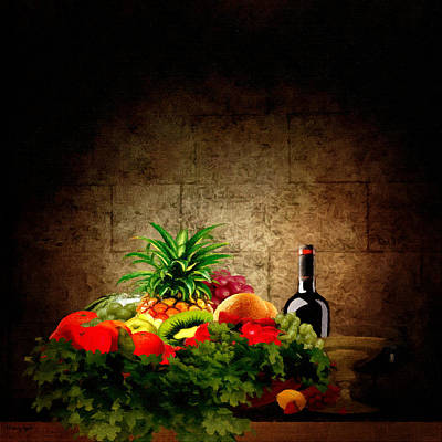 Wine Bottle Painting - Fruit And Wine by Lourry Legarde