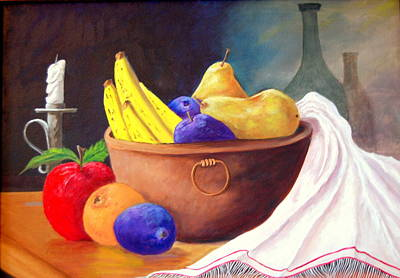 Painting - Fruit Bowl By Candle by Janna Columbus