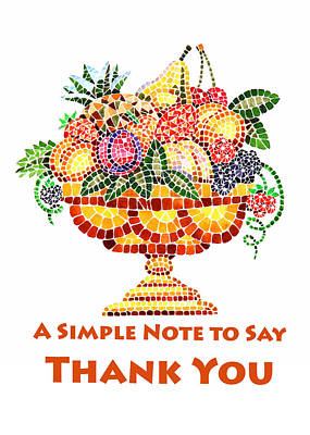 Apricot Painting - Fruit Mosaic Thank You Note by Irina Sztukowski