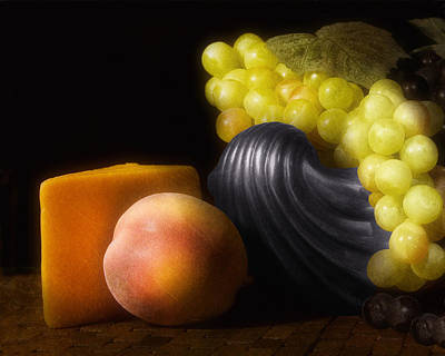 Of Peaches Photograph - Fruit With Cheese by Tom Mc Nemar