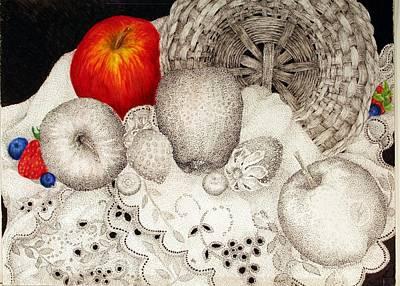 Blueberry Drawing - Fruitful Basket by Jennifer Kirton