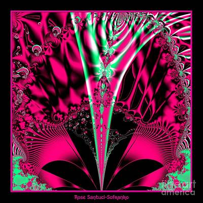Digital Art - Fuchsia Alien Mardi Gras Mask Fractal 78 by Rose Santuci-Sofranko