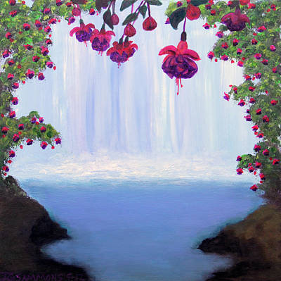 Fuchsia Falls Art Print by Janet Greer Sammons