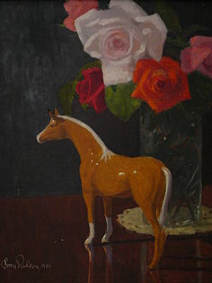 Painting - Fugureen With Roses by Terry Perham