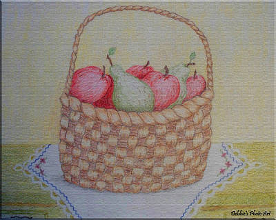 Colored Pencil Painting - Full Basket  Original Colored Pencil  Texturized by Debbie Portwood