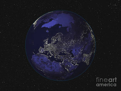 Terrestrial Sphere Photograph - Full Earth At Night Showing City Lights by Stocktrek Images