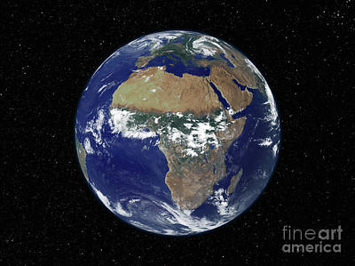 Full Earth Showing Africa And Europe Art Print by Stocktrek Images