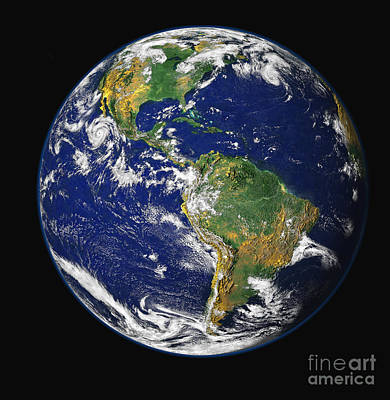Terrestrial Sphere Photograph - Full Earth Showing The Western by Stocktrek Images