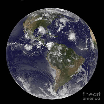 Photograph - Full Earth Showing Tropical Storms by Stocktrek Images