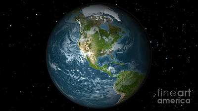 Terrestrial Sphere Photograph - Full Earth View Showing North America by Stocktrek Images