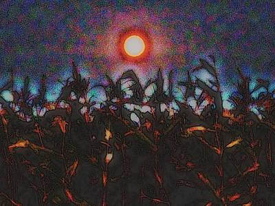 Photograph - Full Harvest Moon Iowa by Clarice  Lakota