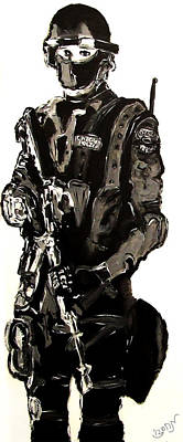 Full Length Figure Portrait Of Swat Team Leader Alpha Chicago Police In Full Uniform With War Gun Original by M Zimmerman MendyZ