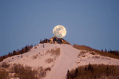 Full Moon Alpenglow Art Print
