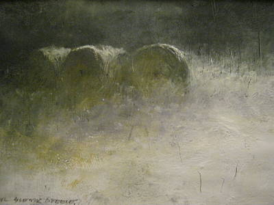 Haybales Painting - Full Moon by Darryl Steele