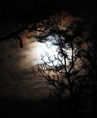 Moonlit Night Photograph - Full Moon Halo Effect by Kerri Ligatich