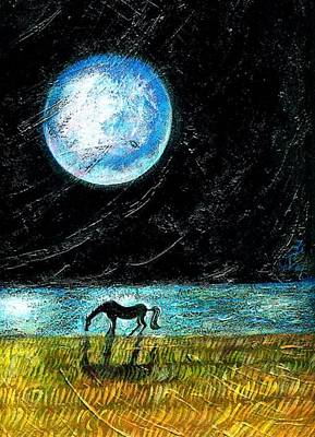 Sea Moon Full Moon Painting - Full Moon On The Seashore by Ion vincent DAnu