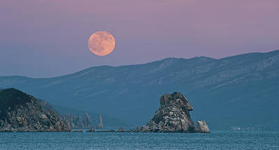Sea Moon Full Moon Photograph - Full Moon Over Cape Laplace. by V. Serebryanskiy