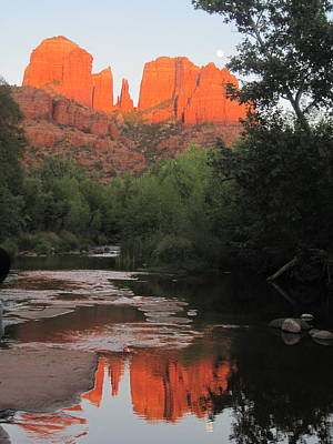 Oak Creek Photograph - Full Moon Over Cathedral Rock by Sandy Tracey