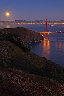 Full Moon Over Golden Gate Bridge Art Print by Photo by Mike Shaw