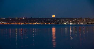 Photograph - Full Moon Over Point Loma by Connie Cooper-Edwards