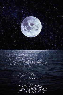 Full Moon Reflecting On Ocean Print by Dimitri Otis