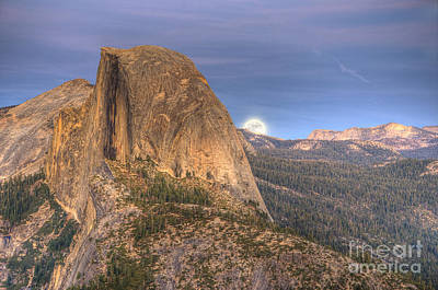 Photograph - Full Moon Rise Behind Half Dome 2 by Jim And Emily Bush