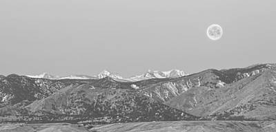 Photograph - Full Moon Setting Over The Co Rocky Mountains Bw by James BO Insogna