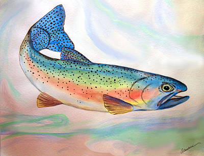 Painting - Full On Trout by Alethea McKee