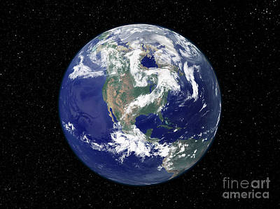 Fully Lit Earth Centered On North Art Print