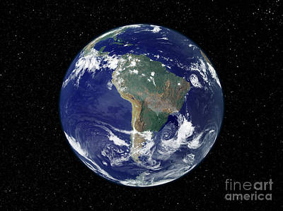 Fully Lit Earth Centered On South Art Print by Stocktrek Images
